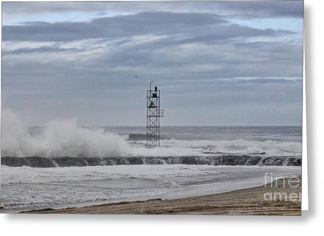Hdr Light Tower Waves Splashing Beach Beaches Sea Oceanview Photos Pictures Photograph Photo Picture Greeting Card