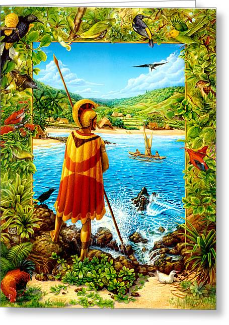 He Hula Ali'i Greeting Card by Anne Wertheim