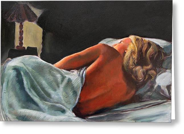 He Snuck Out Of Bed Greeting Card by Mona Davis