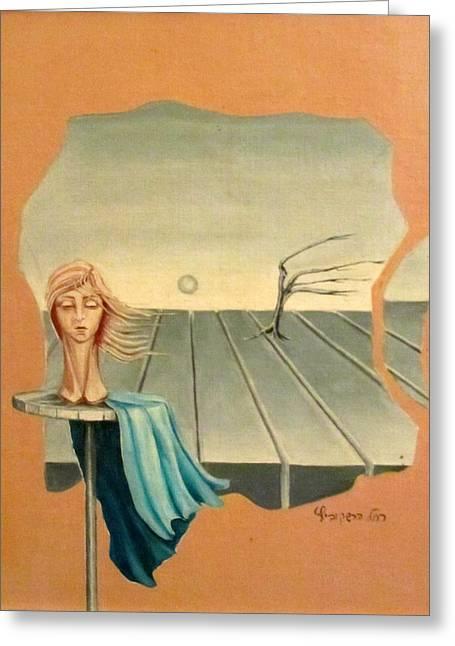 Head In Wind Surrealistic Frame Boards Tree And Hair Waving In Wind Beige Blue Grey Greeting Card by Rachel Hershkovitz