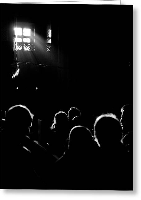 Heads Looking For Light Black And White Greeting Card by Mustafa Otyakmaz
