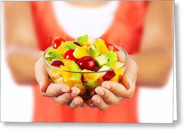 Healthy Fruit Salad Greeting Card by Anna Om