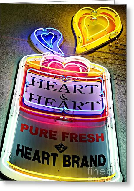 Heart And Heart Neon Greeting Card by Dean Harte