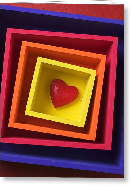 Heart In Boxes  Greeting Card by Garry Gay