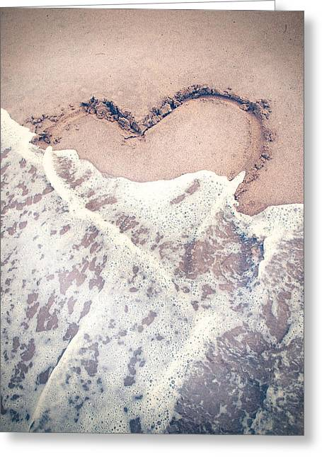 Heart In The Sand Greeting Card by Nastasia Cook