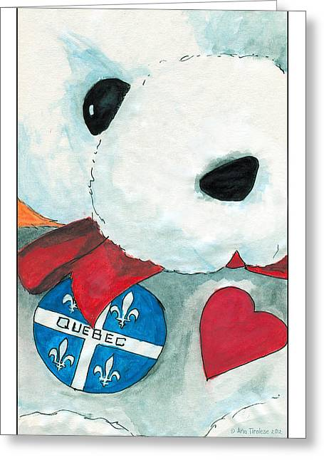 Heart Quebec Bear Greeting Card