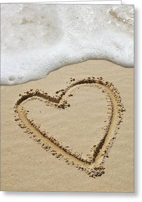 Heart-shape Drawn In Sand Greeting Card by Tony Craddock