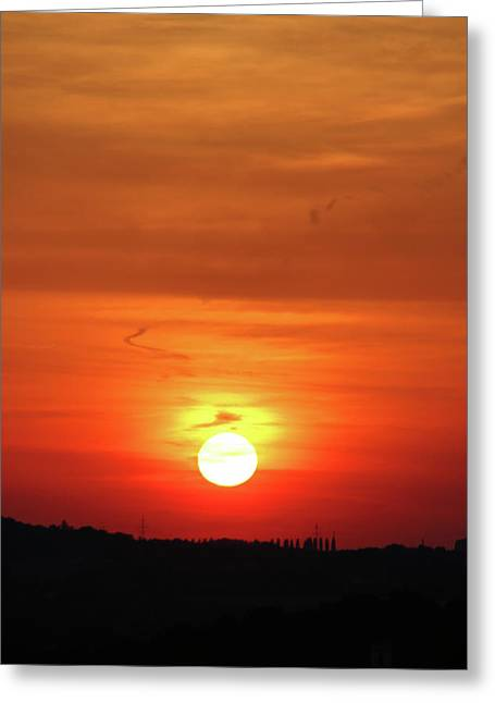 Heavenly Sunset Greeting Card by Mariola Bitner