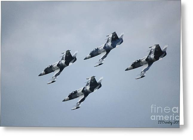 Heavy Metal Jet Team Greeting Card by Susan Stevens Crosby