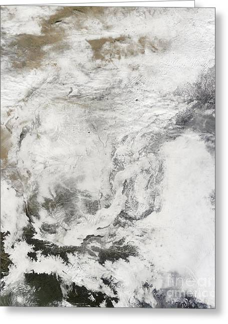 Heavy Snowfall In China Greeting Card by Stocktrek Images