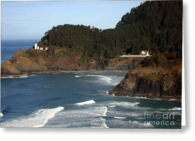 Greeting Card featuring the photograph Heceta Head Lighthouse And Lightkeepers House by Glenna McRae