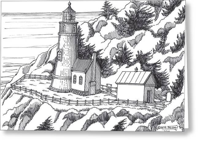 Heceta Head Oregon Greeting Card by Bill Friday