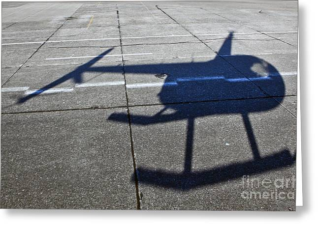 Helicopter Shadow Greeting Card by Francis Zera