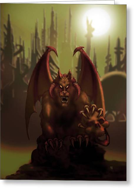 Hell Wolf Greeting Card by William McDonald