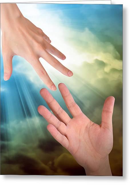 Helping Hands In Sky Greeting Card by Angela Waye