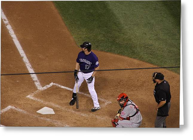 Helton Up To Bat Greeting Card by Cynthia  Cox Cottam