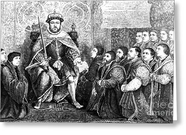 Henry Viii Presenting Charter To Barber Greeting Card