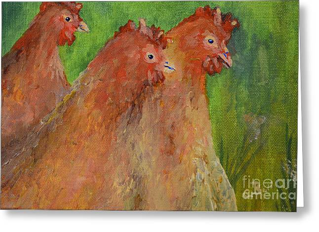Hens And Chickens Greeting Card by Claire Bull
