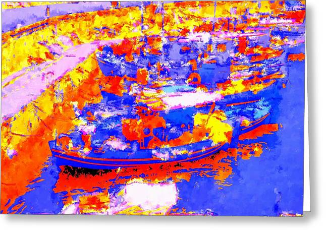 Heraklion Harbor In Illustration Orangeena Style Greeting Card
