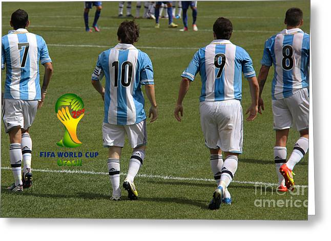 Here We Come Lionel Messi Fifa 2014 Greeting Card by Lee Dos Santos