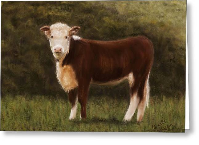 Hereford Heifer Greeting Card by Michelle Wrighton