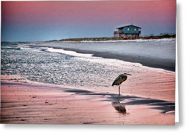 Heron And Beach House Greeting Card by Michael Thomas