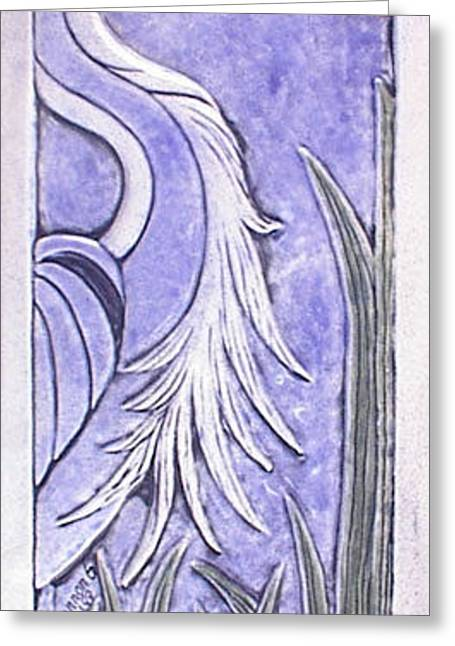 Heron Ceramic Tile Greeting Card by Shannon Gresham