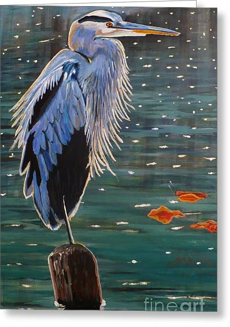 Heron In Blue Greeting Card by Janet McDonald