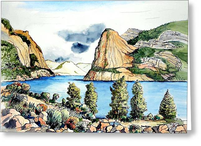 Greeting Card featuring the painting Hetch Hetchy by Terry Banderas