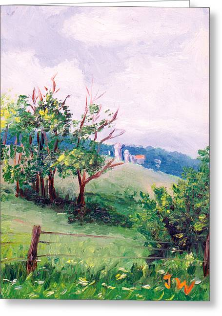 Greeting Card featuring the painting Hickory Hillside by Joe Winkler