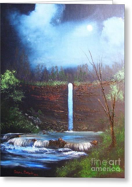 Hidden Falls Greeting Card by Crispin  Delgado