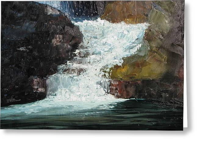 Hidden Waterfall Greeting Card by Iris Nazario Dziadul
