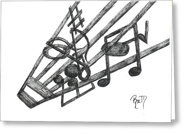 Hiding Among The Notes - Sketch Greeting Card by Robert Meszaros