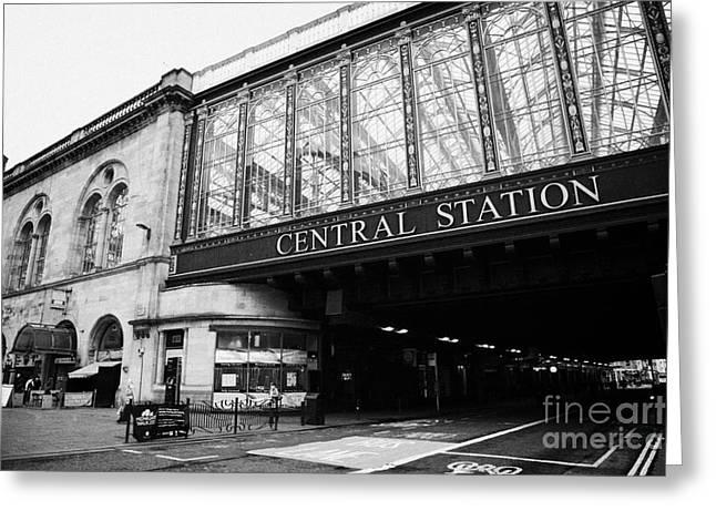 Hielanman's Umbrella Glass Walled Railway Bridge For Glasgow Central Station Scotland Uk Greeting Card by Joe Fox