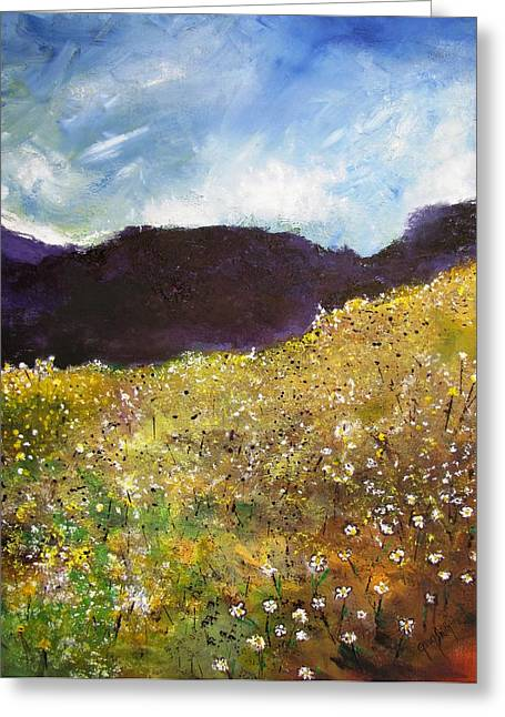 High Field Of Flowers Greeting Card