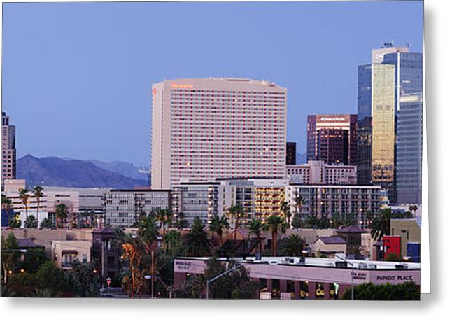 High Rise Buildings Of Downtown Phoenix At Sunrise Greeting Card by Jeremy Woodhouse