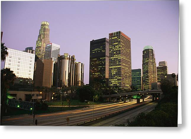 High Rises Along The Harbor Freeway Greeting Card by Richard Nowitz