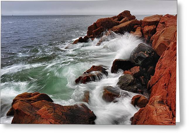 High Tide At Bass Harbor Head Greeting Card by Rick Berk