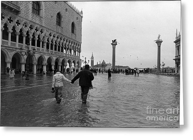 High Water In Venice Greeting Card by Aldo Cervato