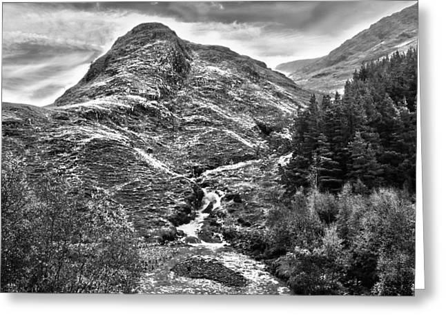 Highland Stream Bw Greeting Card by Paul Prescott