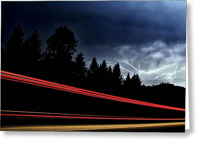 Highway Light Show Greeting Card by Don Mann