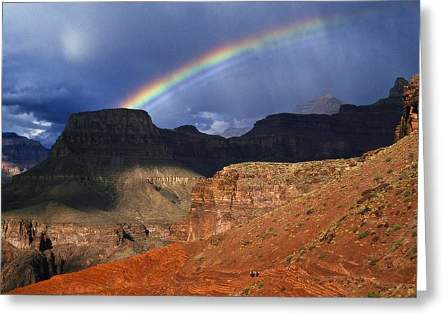 Hikers And Rainbow Kaibab Trail, Grand Greeting Card by Ralph Lee Hopkins