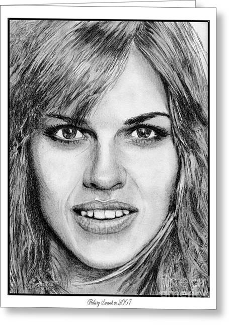 Greeting Card featuring the drawing Hilary Swank In 2007 by J McCombie