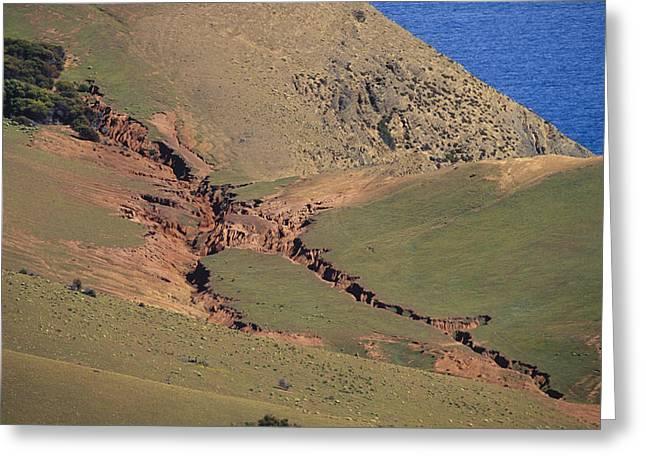 Hillside Erosion Caused By Run Greeting Card by Jason Edwards