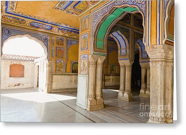 Hindu Palace Interior Greeting Card by Inti St. Clair