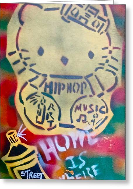 Hip Hop Kitty Greeting Card by Tony B Conscious