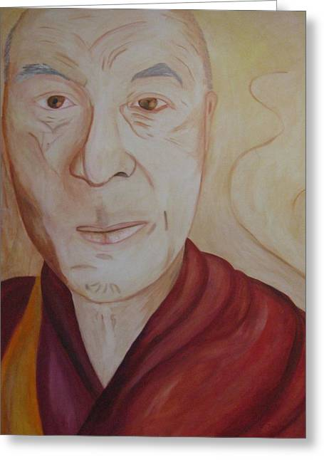 His Holiness The Dalai Lama Greeting Card by Lorraine Toler