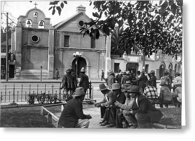 Hispanics On The Plaza Greeting Card by Underwood Archives