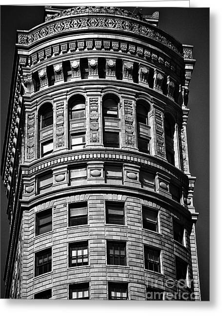 Historic Building In San Francisco - Black And White Greeting Card