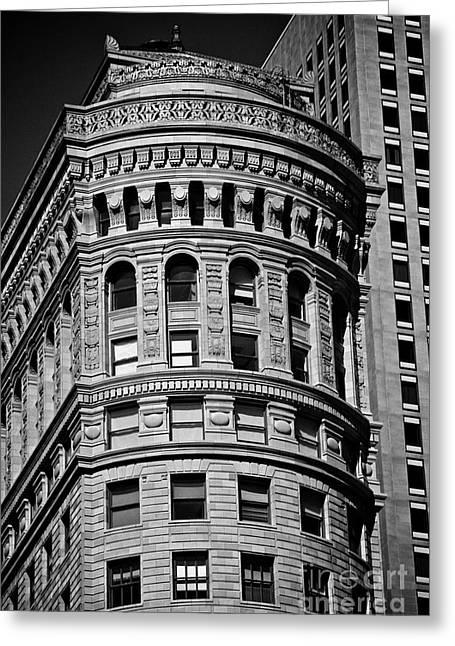 Historic Building In San Francisco Ll - Black And White Greeting Card